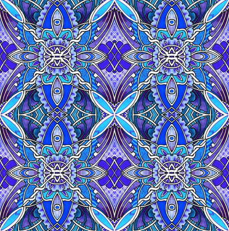 X Marks the Spots (blue) fabric by edsel2084 on Spoonflower - custom fabric