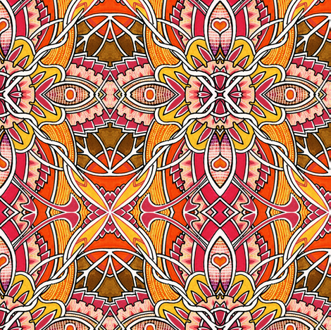 Petal Pushers (orange) fabric by edsel2084 on Spoonflower - custom fabric