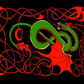 Red and Green Celtic Dragon on Black FQ