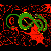 Red and Green Celtic Dragon on Black full yard