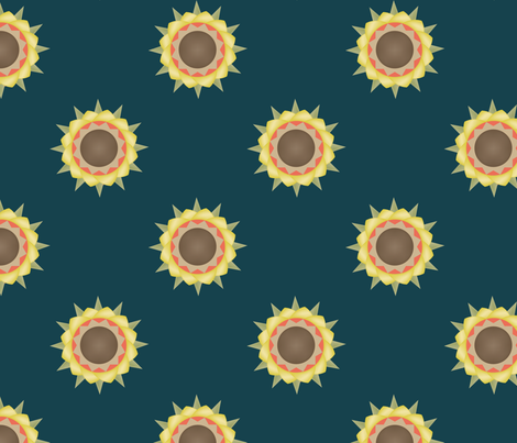 Autumn Flower print on green fabric by brandymiller on Spoonflower - custom fabric