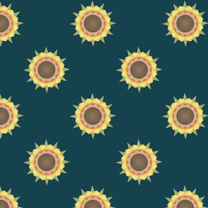 Autumn Flower print on green