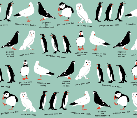 wordy birdy fabric by scrummy on Spoonflower - custom fabric