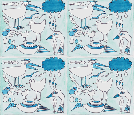 Oiseaux_contest_NEW fabric by monique_caffet on Spoonflower - custom fabric