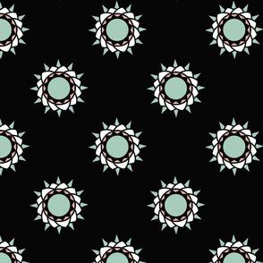 Floral print on black
