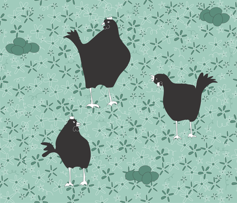 a chicken in doubt fabric by shiny on Spoonflower - custom fabric