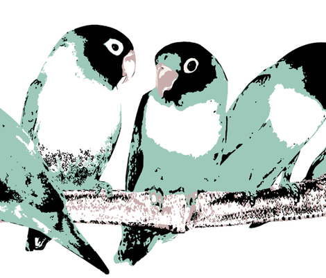 Blue Masked Lovebirds fabric by mjdesigns on Spoonflower - custom fabric
