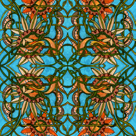 Blue Sky, Autumn Garden fabric by edsel2084 on Spoonflower - custom fabric