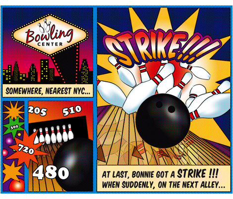 Bowling-Comics fabric by cassiopee on Spoonflower - custom fabric