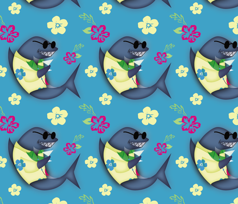 Aloha! Shark in Blue fabric by brandymiller on Spoonflower - custom fabric