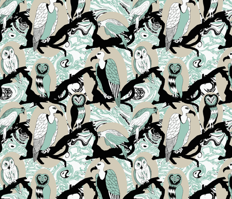 Birds of Prey in Spoonflower Blue, Black, White, and Silver fabric by mag-o on Spoonflower - custom fabric