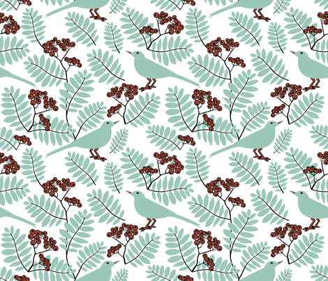 Birds and rowanberry fabric by marimia on Spoonflower - custom fabric
