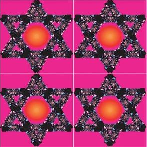 Floral Jewish Star with Sun Center on Magenta Background