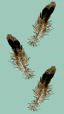 Small Bird Feathers Scattered - blue background