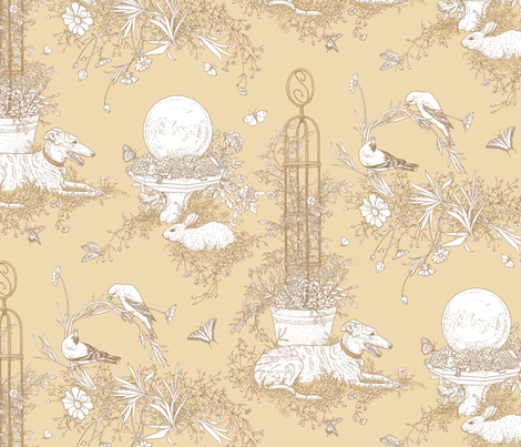 My Garden Toile Main Large - Khaki Beige   ©2011 by Jane Walker fabric by artbyjanewalker on Spoonflower - custom fabric