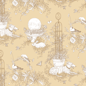 My Garden Toile Main Large - Khaki Beige  ©2011 by Jane Walker