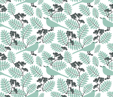 Blackbirds love Rowan Berries - White background fabric by marimia on Spoonflower - custom fabric