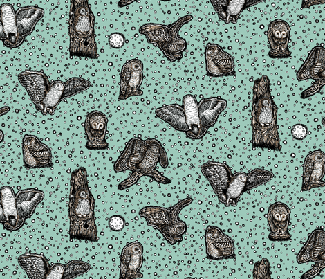 Owls_at_Dusk_by_Teja_Williams_half_drop_blue_30x60_cm_repeat fabric by teja_jamilla on Spoonflower - custom fabric