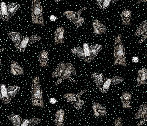 Owls_at_Midnight_by_Teja_Williams_half_drop_black_30x60_cm_repeat fabric by teja_jamilla on Spoonflower - custom fabric