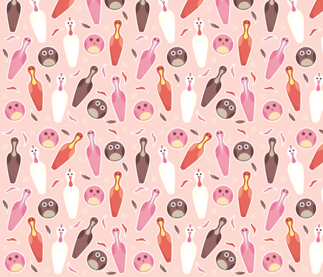 Theres an OWL in - bOWLing ! fabric by nerida_jeannie on Spoonflower - custom fabric
