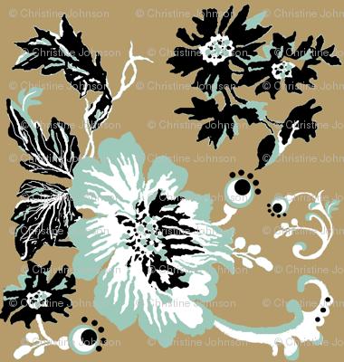 birds / khaki floral