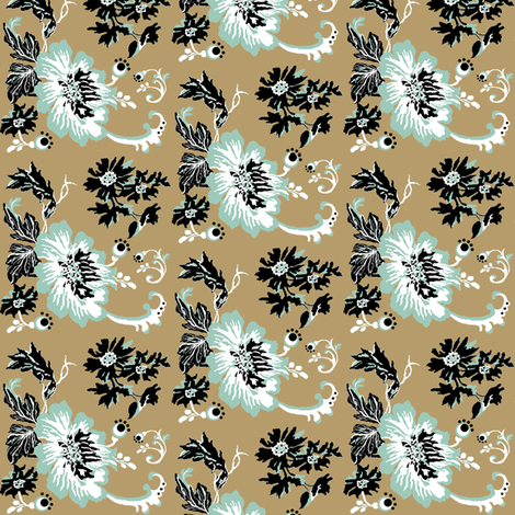 birds / khaki floral fabric by paragonstudios on Spoonflower - custom fabric