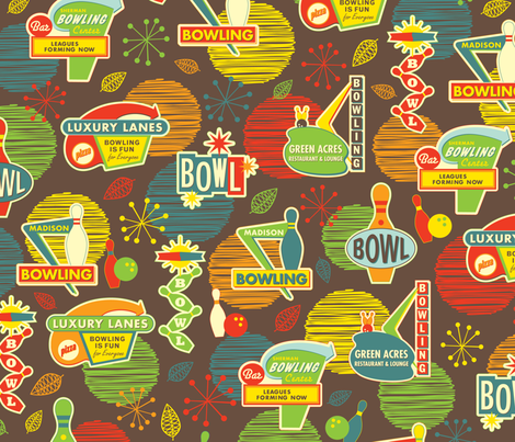 Bowling is Fun for Everyone fabric by jennartdesigns on Spoonflower - custom fabric