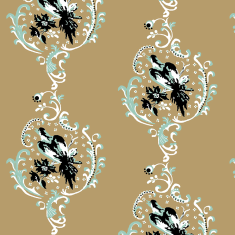 birds / floral brocade fabric by paragonstudios on Spoonflower - custom fabric
