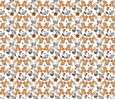 Leaf The Squirrels Alone - They've Gone Nuts! (Floral)  - © PinkSodaPop 4ComputerHeaven.com fabric by pinksodapop on Spoonflower - custom fabric