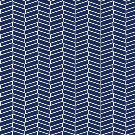 Modern Herringbone / Navy fabric by mjdesigns on Spoonflower - custom fabric