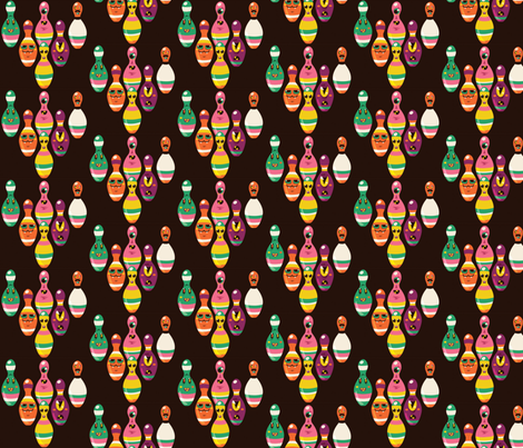 Monster Bowling Pins fabric by irrimiri on Spoonflower - custom fabric