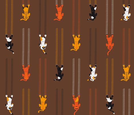 manche KATZEn KrATZEn - some CATs sCrATch - brown fabric by annosch on Spoonflower - custom fabric