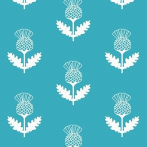 Thistle teal and white