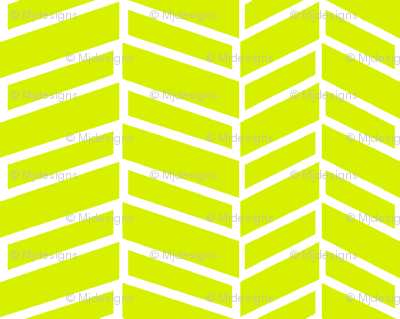 Assymetrical Herringbone / Lime Green