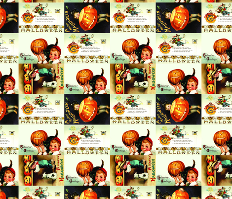 Vintage Halloween Postcards fabric by amyteets on Spoonflower - custom fabric