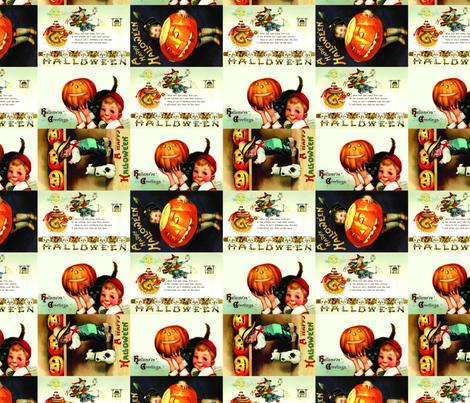 Vintage Halloween Postcards fabric by amyteets on Spoonflower - custom fabric