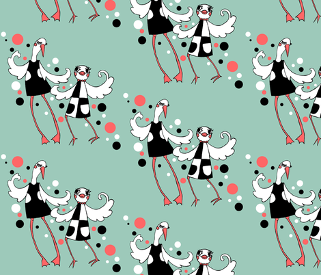 Mod Birds on Aqua - Night on the Town (with bubbles!) fabric by beesocks on Spoonflower - custom fabric