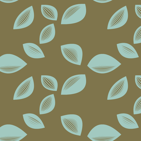 Falling Leaves in Cocoa and Aqua fabric by bluenini on Spoonflower - custom fabric
