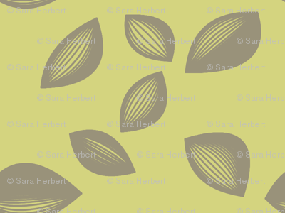 Falling Leaves in Olive and Grey