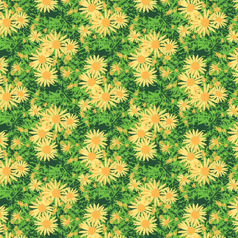 Yvonne's Small Daisy - Sunshine and Shadow fabric by inscribed_here on Spoonflower - custom fabric