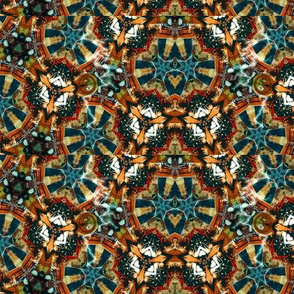 Caleidoscope in brown, orange and blue-green