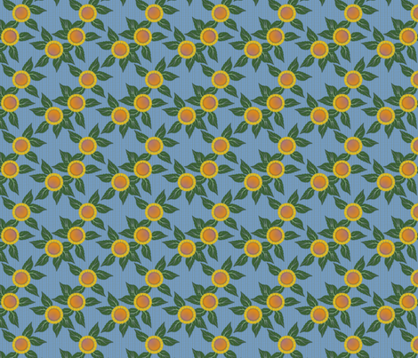 Sunflowers and Blue Wicker fabric by glimmericks on Spoonflower - custom fabric