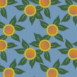 Sunflowers and Blue Wicker