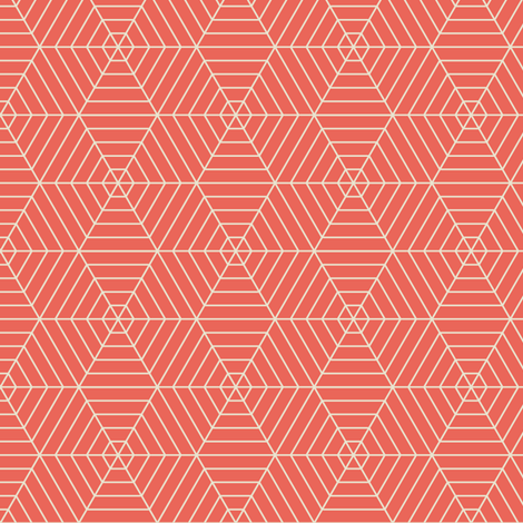 Hexagon Webs in Peach fabric by sophiebenoit on Spoonflower - custom fabric