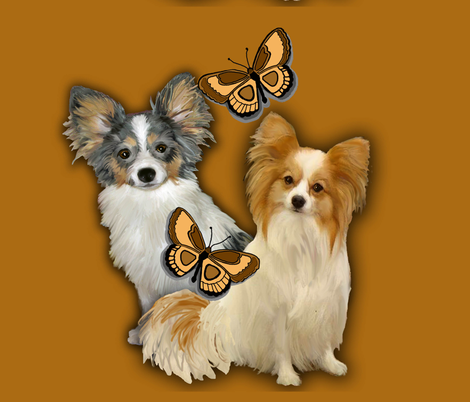 Two Papillons With Butterflies fabric by dogdaze_ on Spoonflower - custom fabric