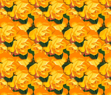 """Orange Honey"" roses fabric by hannafate on Spoonflower - custom fabric"