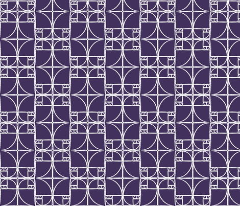 Dark Eggplant Purple Fibonacci Spiral fabric by pantsmonkey on Spoonflower - custom fabric