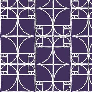 Dark Eggplant Purple Fibonacci Spiral
