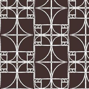 Darkest Chocolate Brown Fibonacci Spiral