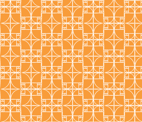 Citrus Orange Fibonacci Spiral fabric by pantsmonkey on Spoonflower - custom fabric